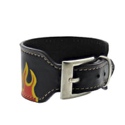 Black PU Bracelet with Flames