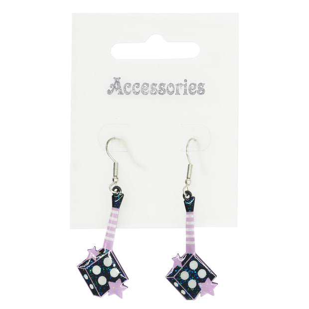 Black & Lilac Glitter Dice Shaped Guitar Earrings with Stars