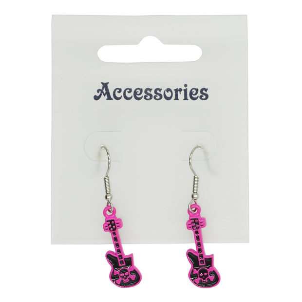 Fuchsia Pink & Black Electric Guitar with Skull & Crossbones Earrings