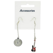 Black & Red Electric Guitar & Record with Diamante Stones Chain Drop Earrings