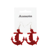 Plastic Anchor Earrings with Chain - 4.5 x 3.9cm