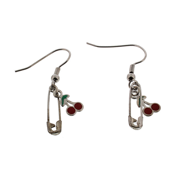 Cherries and Safety Pin Earrings (1.5 x 0.5cm)