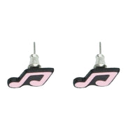 Pink Musical Note Stud Earrings