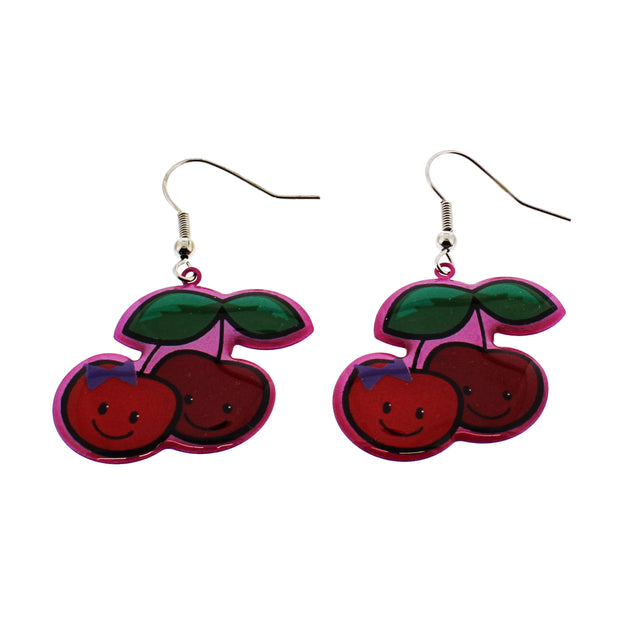 Cherry Earrings With Smiley Faces (2.5 x 2.5cm)