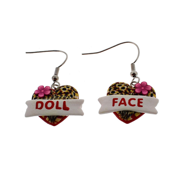 Doll Face Leopard Heart Earrings (2 x 1.5cm)