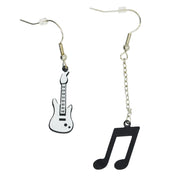 White Electric Guitar & Chain Drop Black Musical Note Earrings