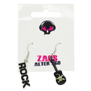 Black Rock and Skull & Crossbones Emblazoned Guitar Earrings