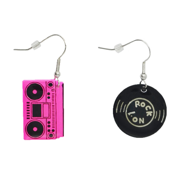 Fuchsia Boombox & Black Record Earrings