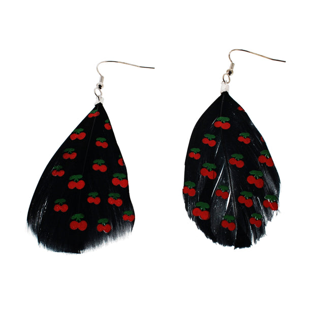 Black Feather Earrings With a Cherry Pattern (6 x 3cm)