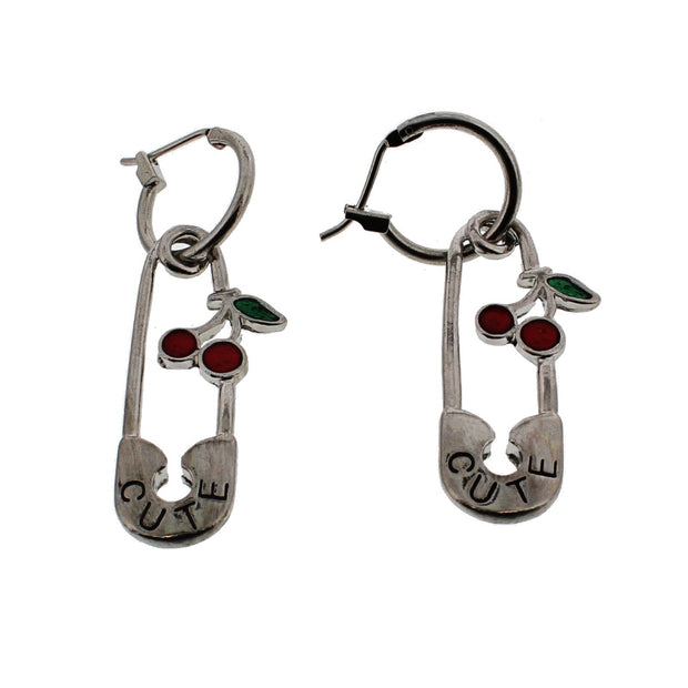 Large Safety Pin Earrings with Cherries
