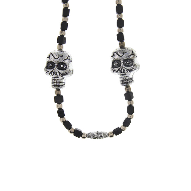 Double Suger Skull Bead & Cube Necklace