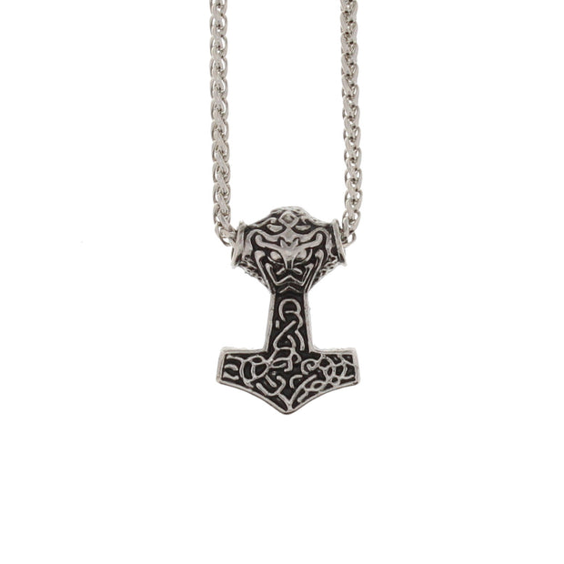 Thors Hammer Pendant on Rhodium Metal Chain Necklace