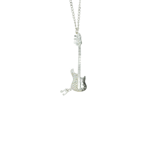 Electric Guitar & Musical Note Necklace with Diamante Stones