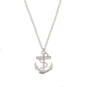 Anchor Pendant with Chain & Diamante Stone on Chain Necklace - 3.5 x 2.7cm Pendant