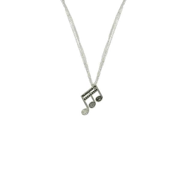 Musical Note Necklace with Diamante Stones