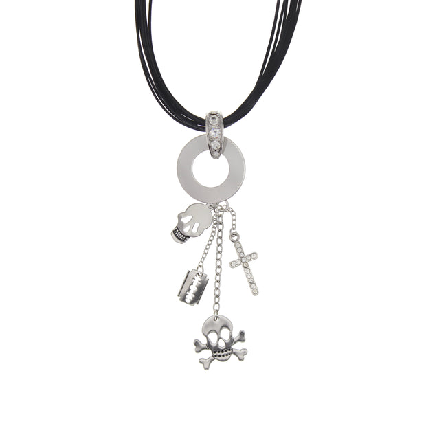 Multi Corded Necklace With Skull, Skull and Crossbone, Cross and Razor Blade Charms Cord 42cm)