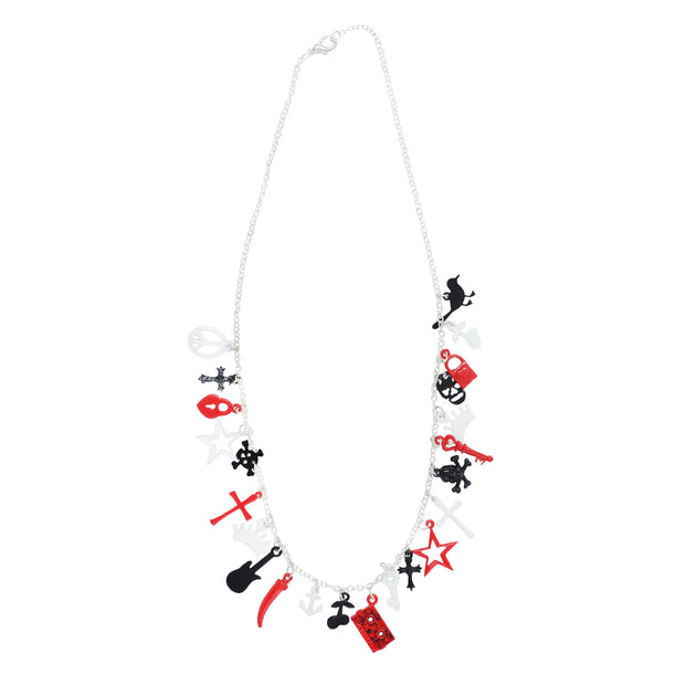 Multi Themed Black, White & Red Charm Necklace