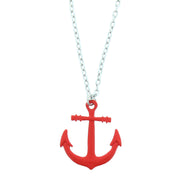 Shiny Metal Anchor Pendant on Silver Necklace - 4.1 x 3.6cm Pendant