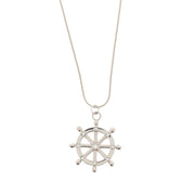 Nautical Wheel Pendant with Diamante Stones on Chain Necklace - 3.6cm Diameter Pendant
