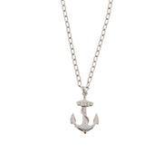 Anchor with Chain Pendant on Chain Necklace - 3.5 x 2.4cm Pendant