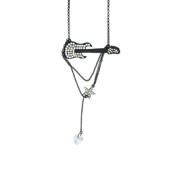 Diamante Stones Electric Guitar & Chain Drop Star Necklace
