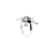 Assorted Sizes Skull & Crossbones Ring with Diamante Stone Studded Mouth