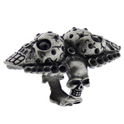 Assorted Sizes Burnished Silver Multi Skull Knuckle Ring with Black Gem Stones