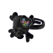 Adjustable Skull & Crossbone Ring with Multicoloured Gem Filled Heart
