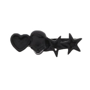 Adjustable Black Skull Double Ring with Heart & 2 Stars
