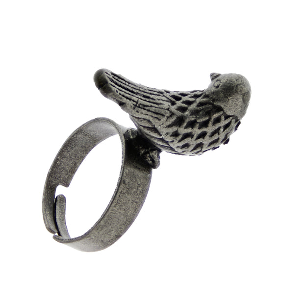 Adjustable Burnished Silver 3D Pigeon Bird Ring