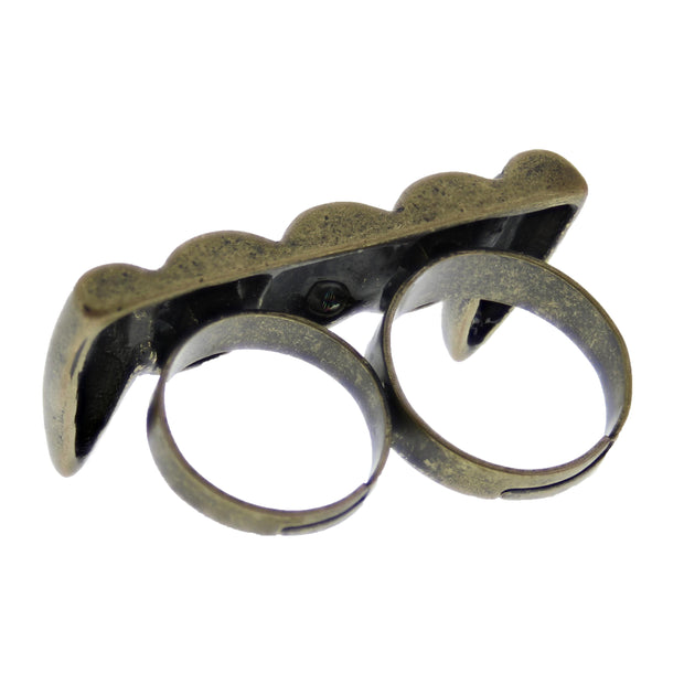 Adjustable Burnished Gold Vamprire Fangs Double Ring