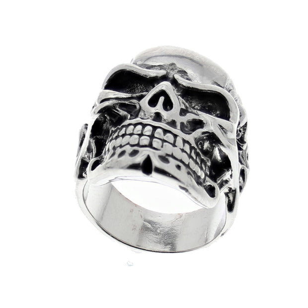 Skeleton Engraved Chunky Skull Ring