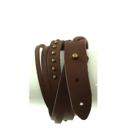 Wrap Round Reconstructed Leather Bracelet with Studs