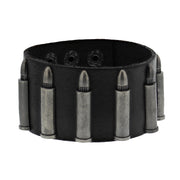 Black PU Bracelet with Bullets
