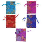 Assorted Colour Chinese Patttern Small Sized Draw String Gift Bags