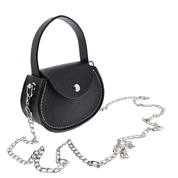 Silver Chain Black Button Purse with Strap