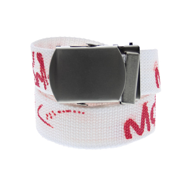 Graffiti Print Canvas Webbing Belt with Shiny Silver Slider Buckle (Length - 120cm, Width - 3cm)