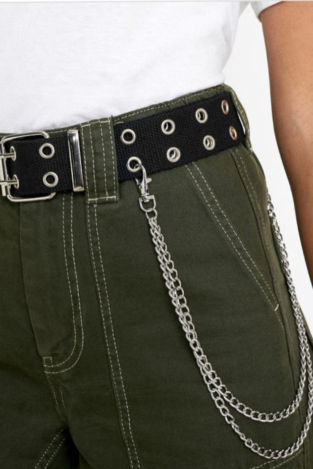 2 Row Eyelets Belt with Double Chain