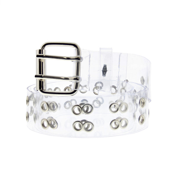 Adjustable Clear PVC Belt with 2 Row Eyelets
