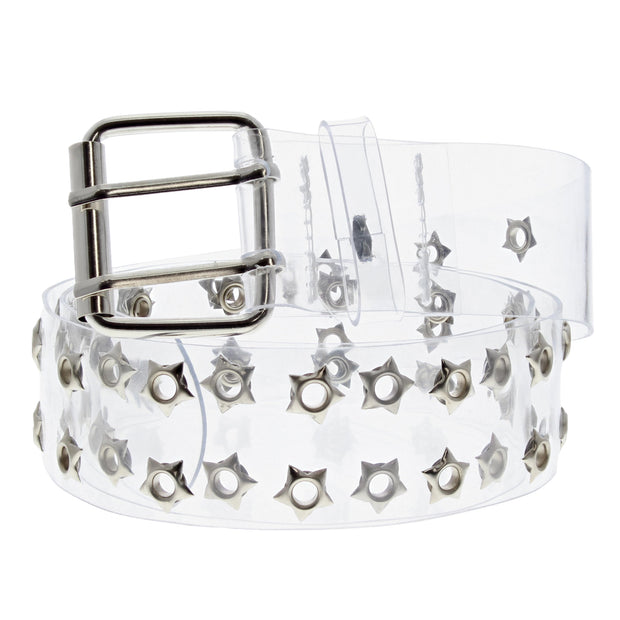 Adjustable Clear PVC Belt with 2 Row Star Eyelets