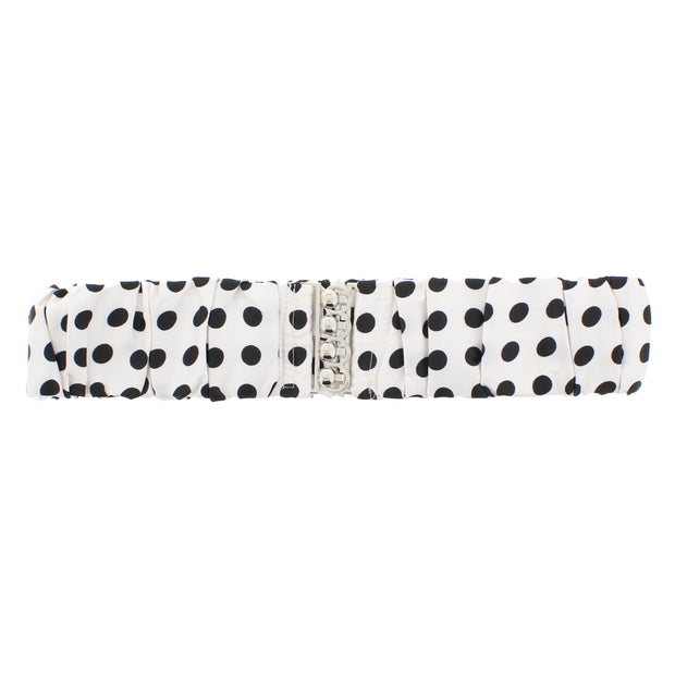 5.8cm Polka Dots on White Ruched Satin Elasticated Waist Belt with Clasp Fastening