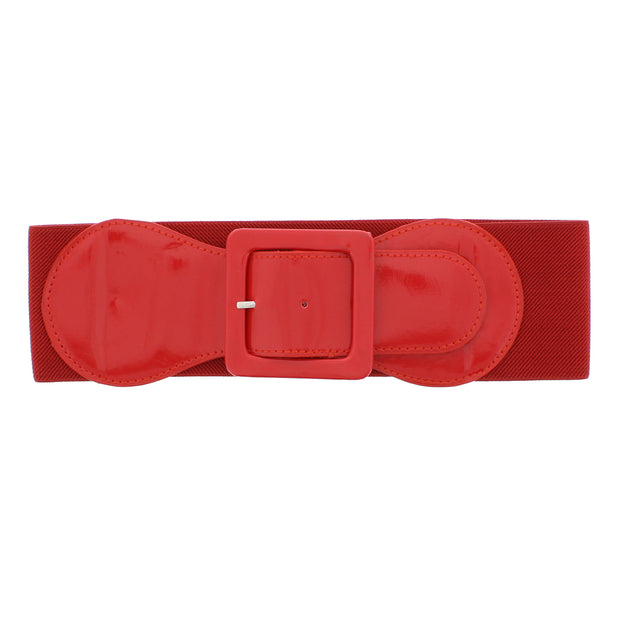 7.6cm Elasticated Waist Belt with Patent Shiny Buckle