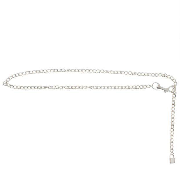 105cm Silver Chain Belt with Padlock