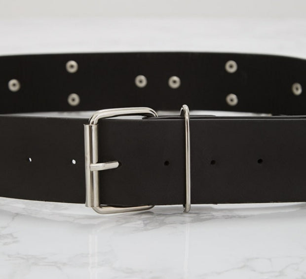 Black PU Belt with Rings & Chains