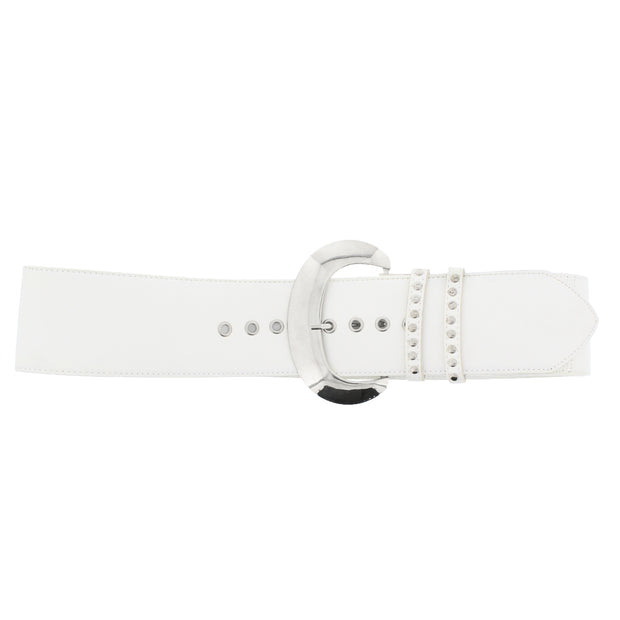 7.2cm Very Wide PU Belt with Large Silver Buckle & Studded Loop Holes