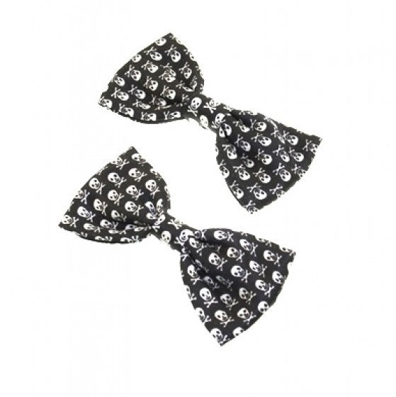 Pair of Black and White Skull and Crossbone Bowes on Clip