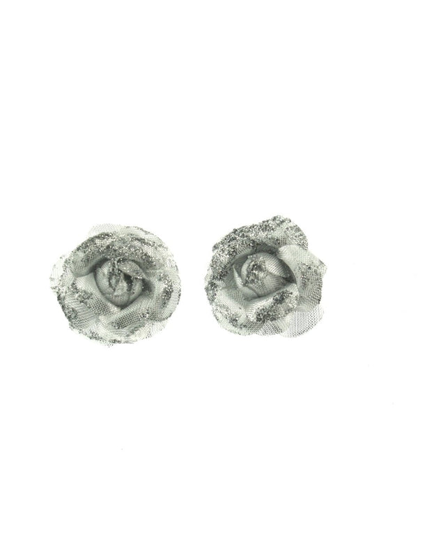 Pair of Mini Glitter Roses on Concord CliP