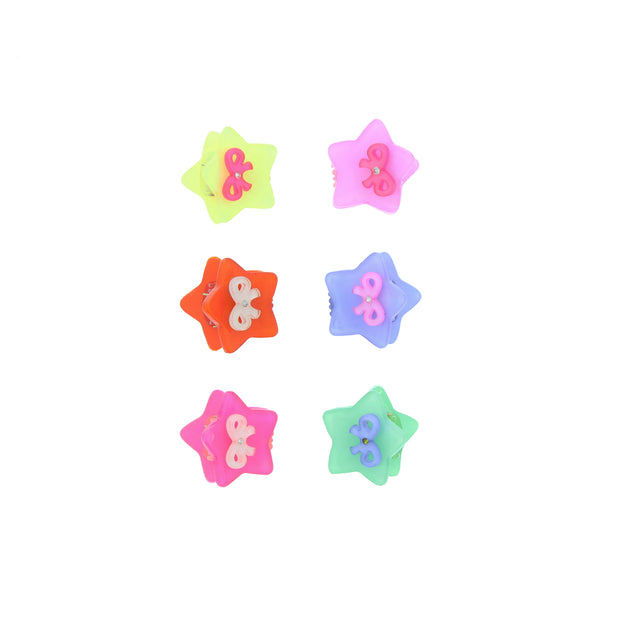 Assorted Pairs of Mini Star & Bow Clips