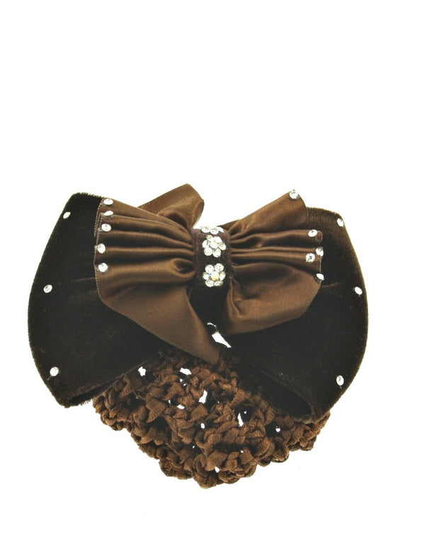 Stone Doublle Bowes on Barrette with Mesh Bun Nets
