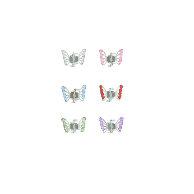 6 on a Card Assorted Pastel Colour Stone Butterfly Clips